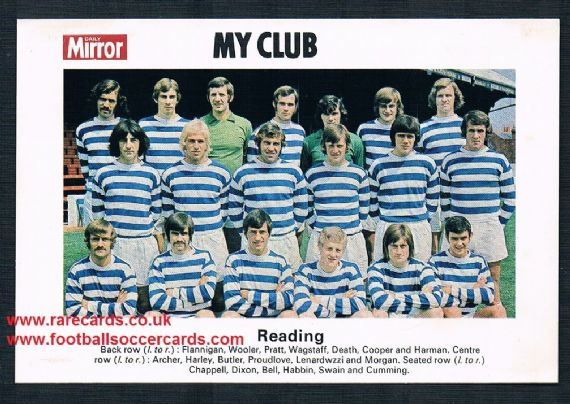1970 My Club Daily Mirror postcard-size card Reading